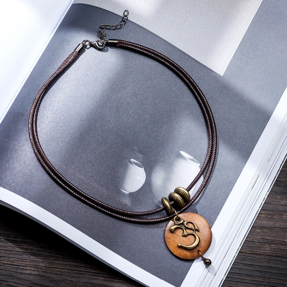 Women's OM Charm Wooden Necklace 2