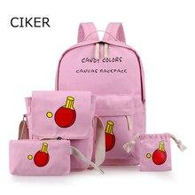 Ciker мода 4 шт./компл. печать холст рюкзаки для девочек-подростков средней школы студенты школьные сумки женщины ноутбук рюкзак mochilas