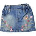 Девушки вышивка Цветочный узор мини Джинсы юбки Выше Колена с карманами эластичный пояс для малышей дети девочка MQW-2210