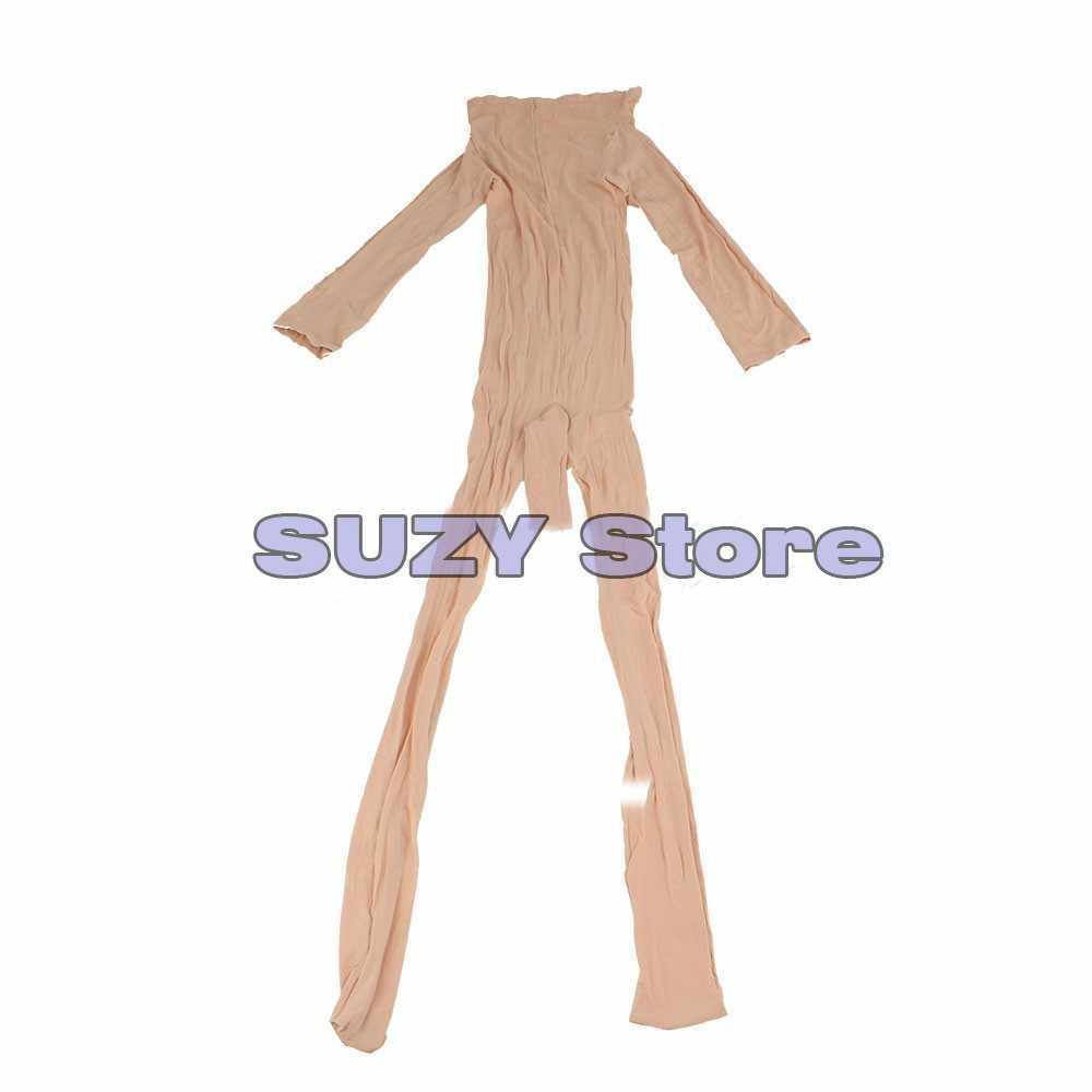 Sexy hombre cuerpo medias Bodi transparente Pantyhose abierto funda manga calcetín ajustado entrepierna cierre Lencería erótica FX11