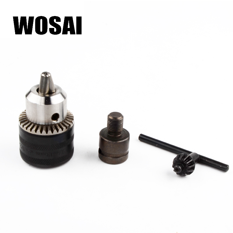WOSAI Electric wrench converter Electric drill Adapter wrench 1/2 (12.5mm) Converter to 1.5-13mm Drill chuck wosai 6pcs electric drill