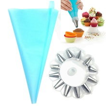 14pc/set Dessert Decorators Silicone Icing Piping Cream Pastry Bag Stainless Steel Nozzle for Tool