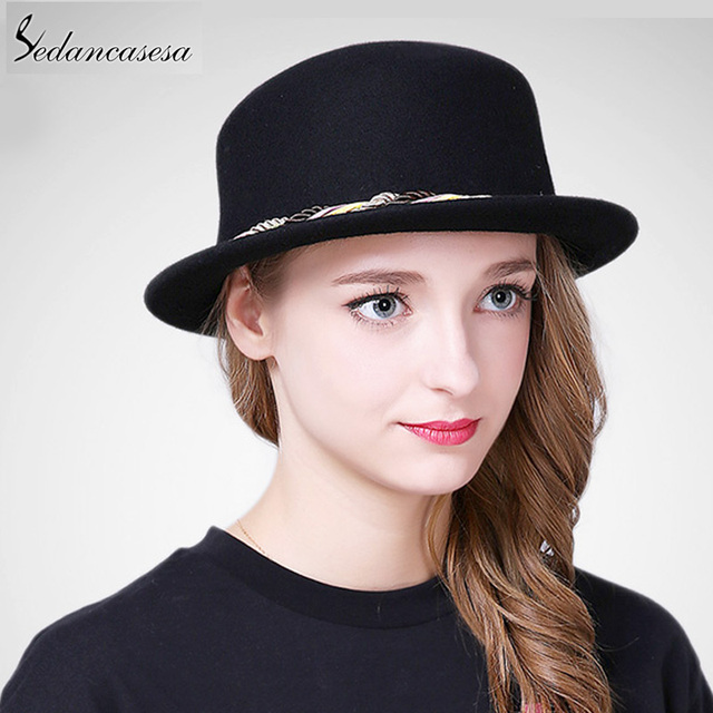 e1febd94b0d5c Sedancasesa New Female Boater Hat Bucket Hats Australian Wool Full Handmade  Weave Rope Small Brim Fedora Hats for Women FW227008