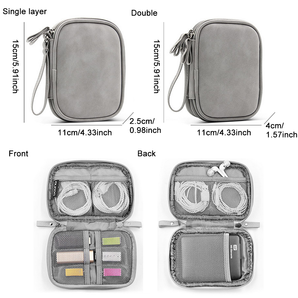 Portable Digital Gadget Devices Storage Bag PU USB Earphone Cable Mobile Power Pack Organizers Storage Bag