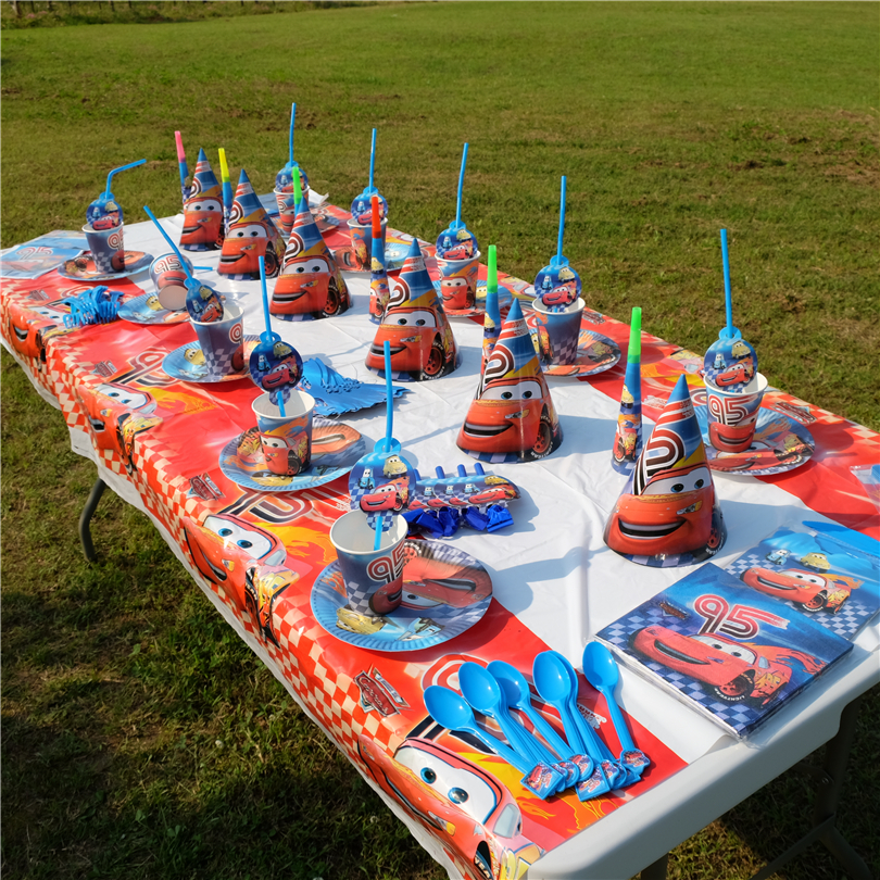 Hot Disney Lightning McQueen Cars Theme Kid Birthday Party Decoration Set Theme Party Supplies Family Party Baby Shower Supplies