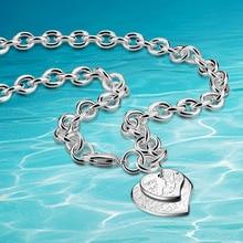 925 collar de plata esterlina, en forma de corazón colgante de collar, 9mm de espesor, la atmósfera honorable mujer suéter de la cadena, moda