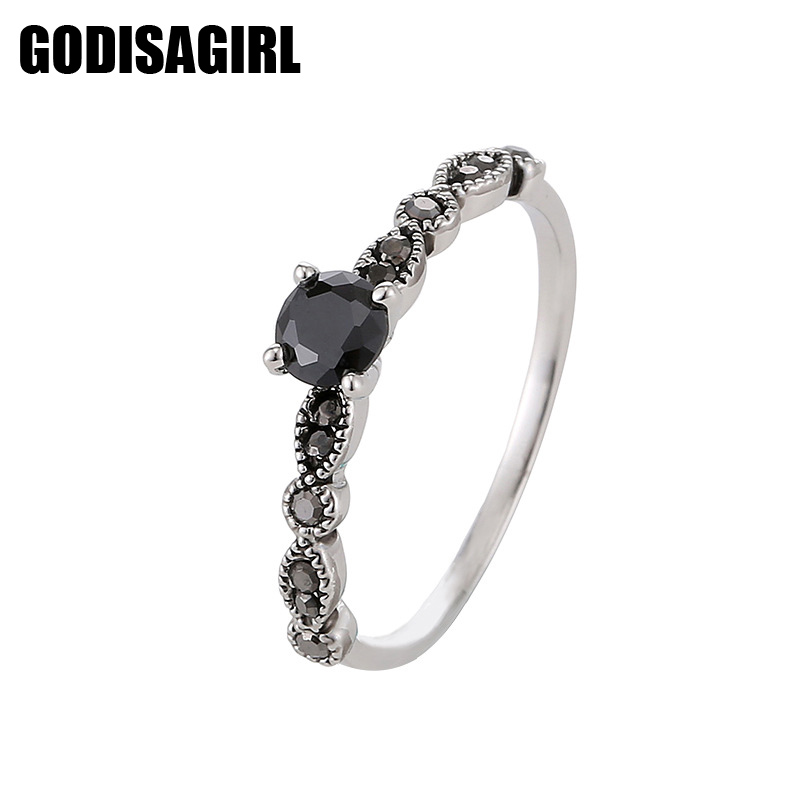 Luxury Black Crystal Rings Vintage Antik Silver Plated Finger Bröllop Förlovning Zircon Crystal Rings kvinnor smycken grossist