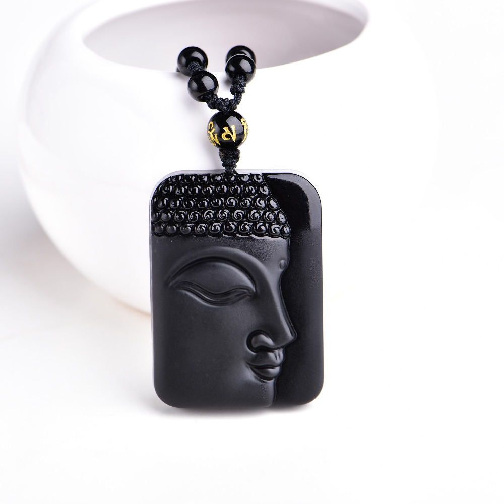 High Quality Unique Natural Black Obsidian Carved Buddha Lucky Amulet Pendant Necklace For Women Men pendants