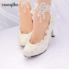 Sapatos de salto alto branco feminino, salto alto com flores e renda para mulheres, sapatos de noiva de 4.5/8 cm tamanho grande