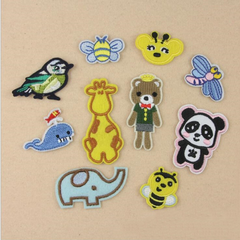 Cartoon Small Animal 8 Badge Repair Patch Embroidered Iron On Patches For Clothing Close Shoes Bags Badges Embroidery DIY