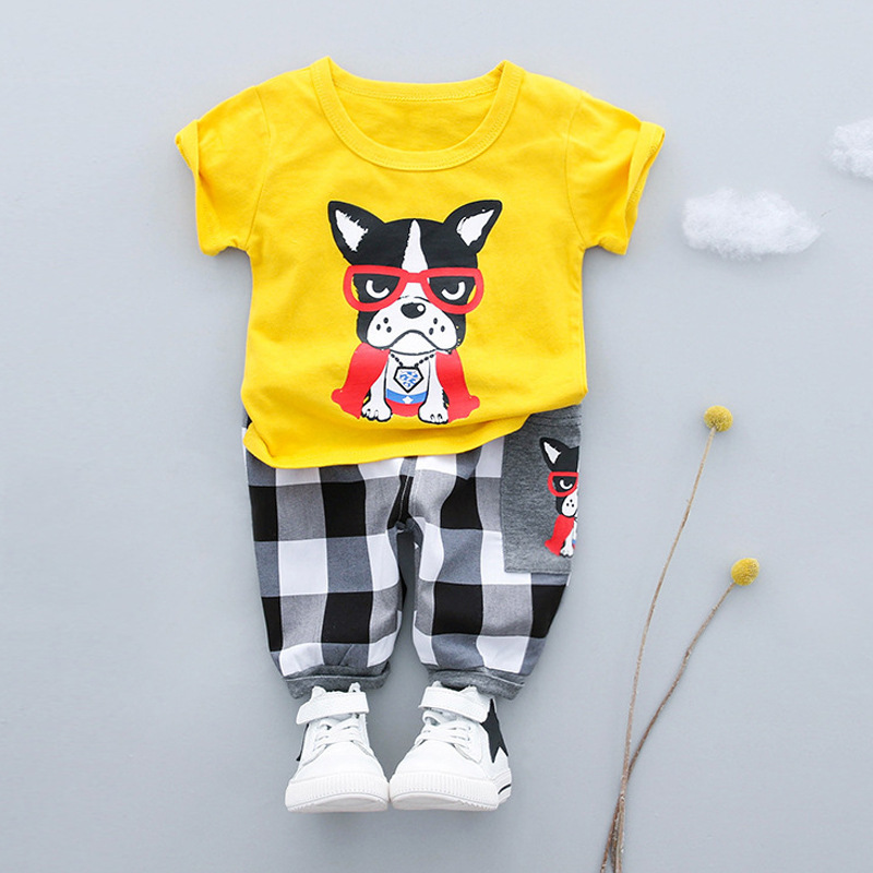 Godier Summer Baby Boys Clothes Suits Cute Glasses Dog Kids Clothing Sets T- Shirt+Pants 2 Pcs Casual Sport Suits Children Sets