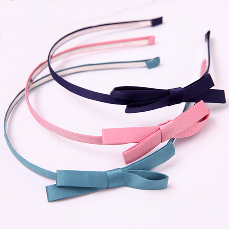 7 Colors Ribbon Cloth Knotted Bow Thin Hairband Trendy Headdress Fashion   Headwear   for Women Hair Accessories