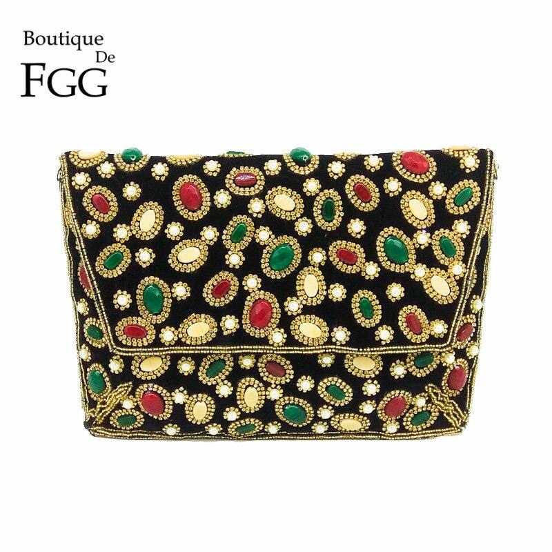 Boutique De FGG Hand Made Perlé Femmes Noir Velours de Soirée Bourse Enveloppe Sac À Main De Mariage Partie De Bal Diamant Cristal D'embrayage Sac
