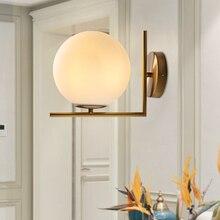 Lámpara de pared dorada clásica Retro con bola de cristal blanca de Metal nórdico moderna lámpara de pared dorada E27 Loft cafe habitación foyer luminaria