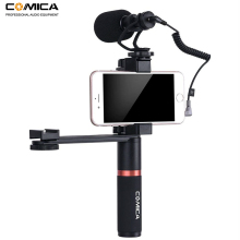 Comica Smartphone Video Kit CVM-VM10-K4 Filmmaker Handle Grip with Mini Microphone Rig for iPhone Samsung Huawei Phone