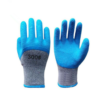 Autumn and winter cold gray yarn plus velvet latex foam semi-hanging labor protection workers gloves factory direct Garden Tools