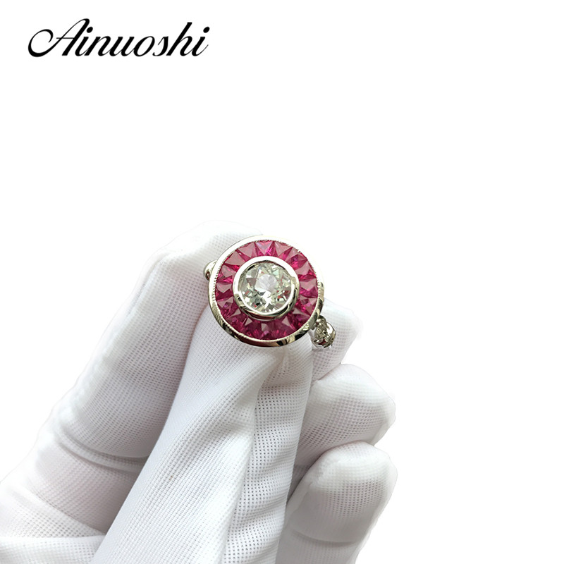 цены AINUOSHI Luxury 14K White Gold Women Engagement Ring Natutal White Aquamarine Wedding Anniversary Diamond Ruby Rings Jewelry