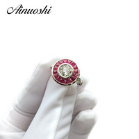 AINUOSHI Luxury 14K White Gold Women Engagement Ring Natutal White Aquamarine Wedding Anniversary Diamond Ruby Rings Jewelry