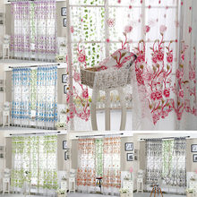 Peony Sheer Curtain Tulle Window Treatment Voile Drape Valance Panel Fabric cortinas dormitorio for Bedroom Living Room(China)