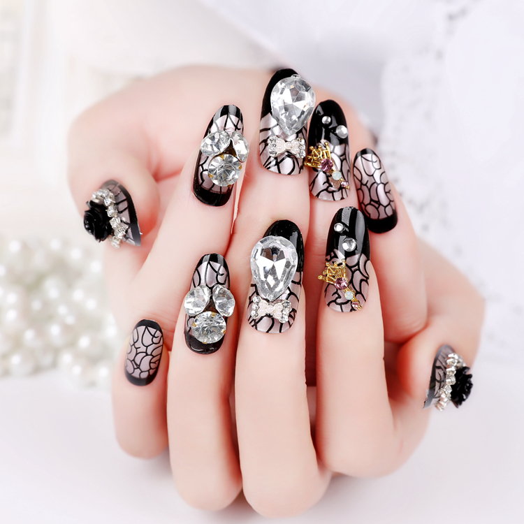 High Quality 3D French printing bride Fake Nails Long Design black ...