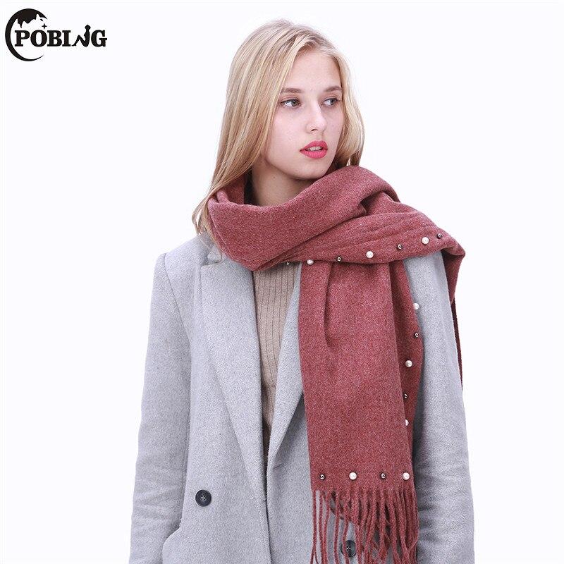 POBING 2017 Pearl Decor Solid Winter   Scarf   Women Warm Cashmere Shawl Blanket   Scarves     Wraps   Female Pashmina Bufandas Lady Capes