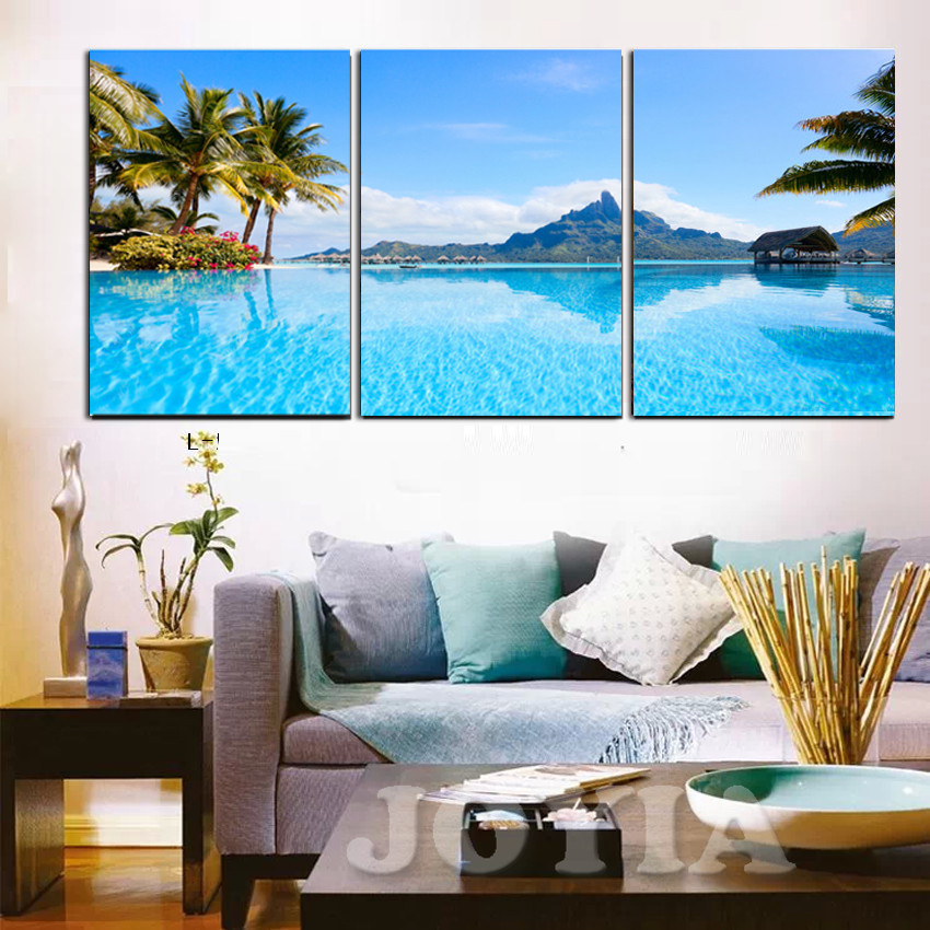 Modern Decor Wall Pictures Blue Sea Tropical Seascape