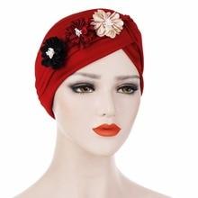 Fashion Women Chemo Hat Muslim Hat Head Beanie Artificial Flower Skullies Lady India Hat Fashion Cancer Hats for Female 6colors цена в Москве и Питере