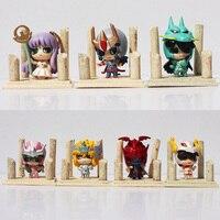 7pcs Anime Saint Seiya Action Figure Egg Box Q Version The Gold Zodiac Seiya Shiryu Ikki Hyoga Shun Third PVC Figures Model Toys