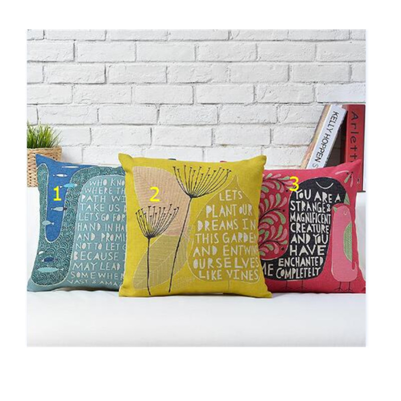 Wholesale Free Shipping Alphabet Pillow Home Decor Scandinavian simplicity Creative Pillow Dandelion Illustration Seat Pillow