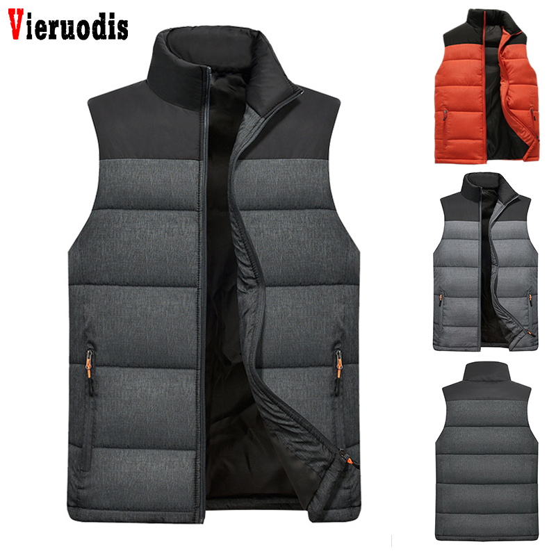 Autumn Winter Men Down Vest Men's Warm Thick Coats Jacket And Coats Zipper Multiple Pockets Casual Vests Mens Sleeveless Jacket