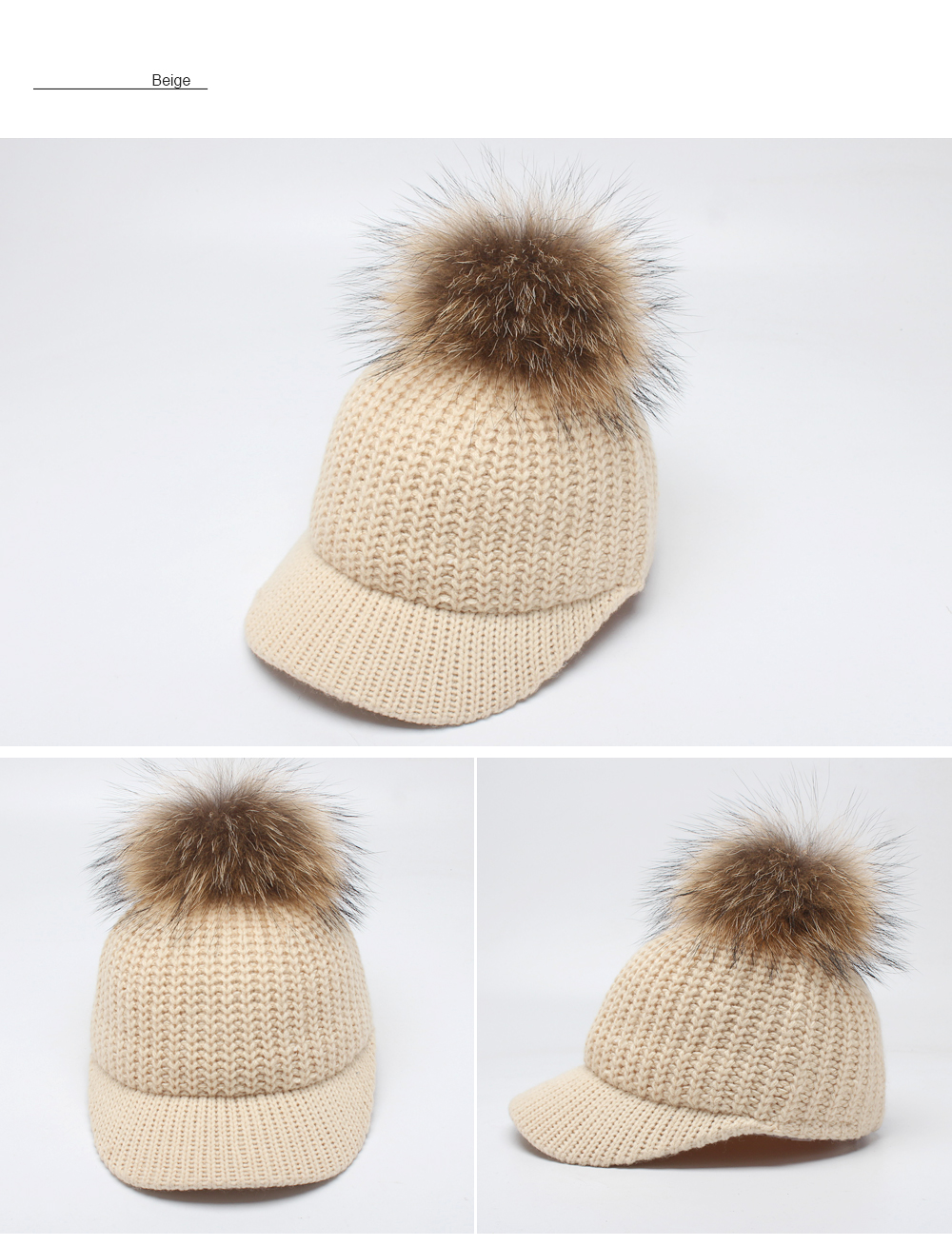 17eaa0be9 ROSELUOSI Autumn Winter Baseball Caps For Women Real Raccoon Fur Pom Poms  Knitted Hat Casual Solid Color Bone Feminino