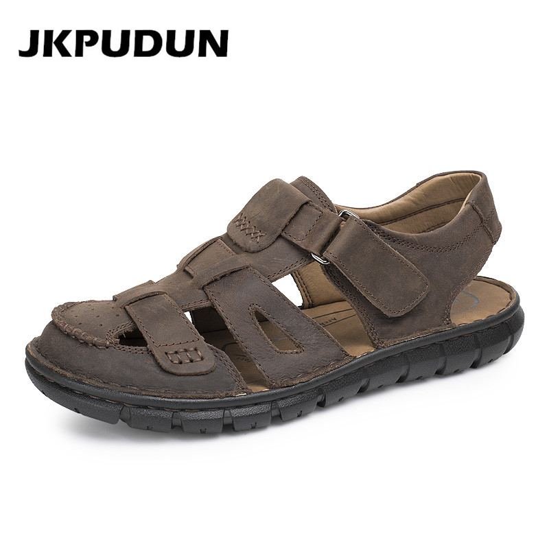 Handmade Summer Retro Men Sandals Gladiator Genuine Leather