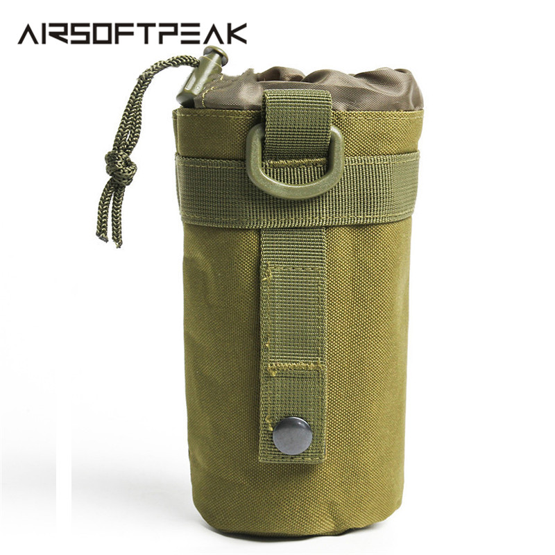 Tactical Water Bottle Pouch Outdoor Kettle Adjustable Strap Camping Hiking Pouch Hunting Bags Pouch Molle Drinking Bottle Holder