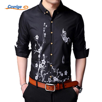 Covrlge Male Social Shirt 2018 Spring New Men Long Sleeve Business Shirts Print Slim Fit Brand