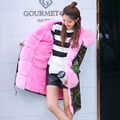 Natural Real rex rabbit Fur woman coat New female  Winter Long Thick Women Genuine striped fox Fur warm Outerwear for women