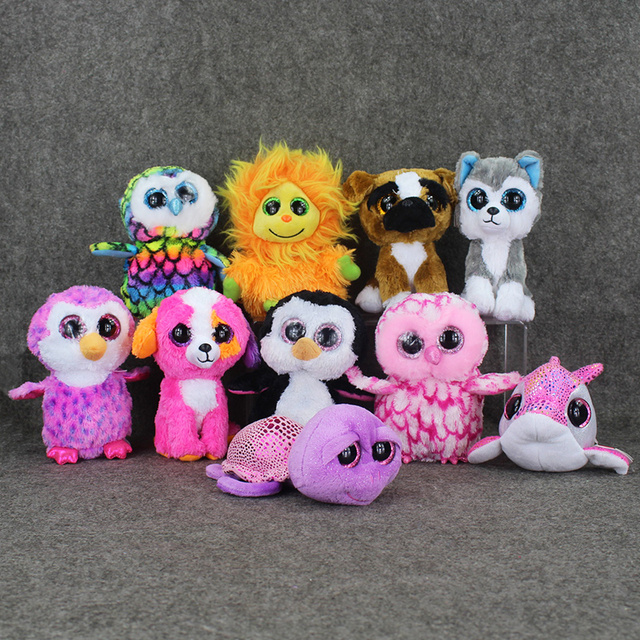 fc334bd7d1e 15cm Original Ty Beanie Boos Big Eyes Plush Toy Doll Husky Cat Owl Unicorn  Lion dolphin
