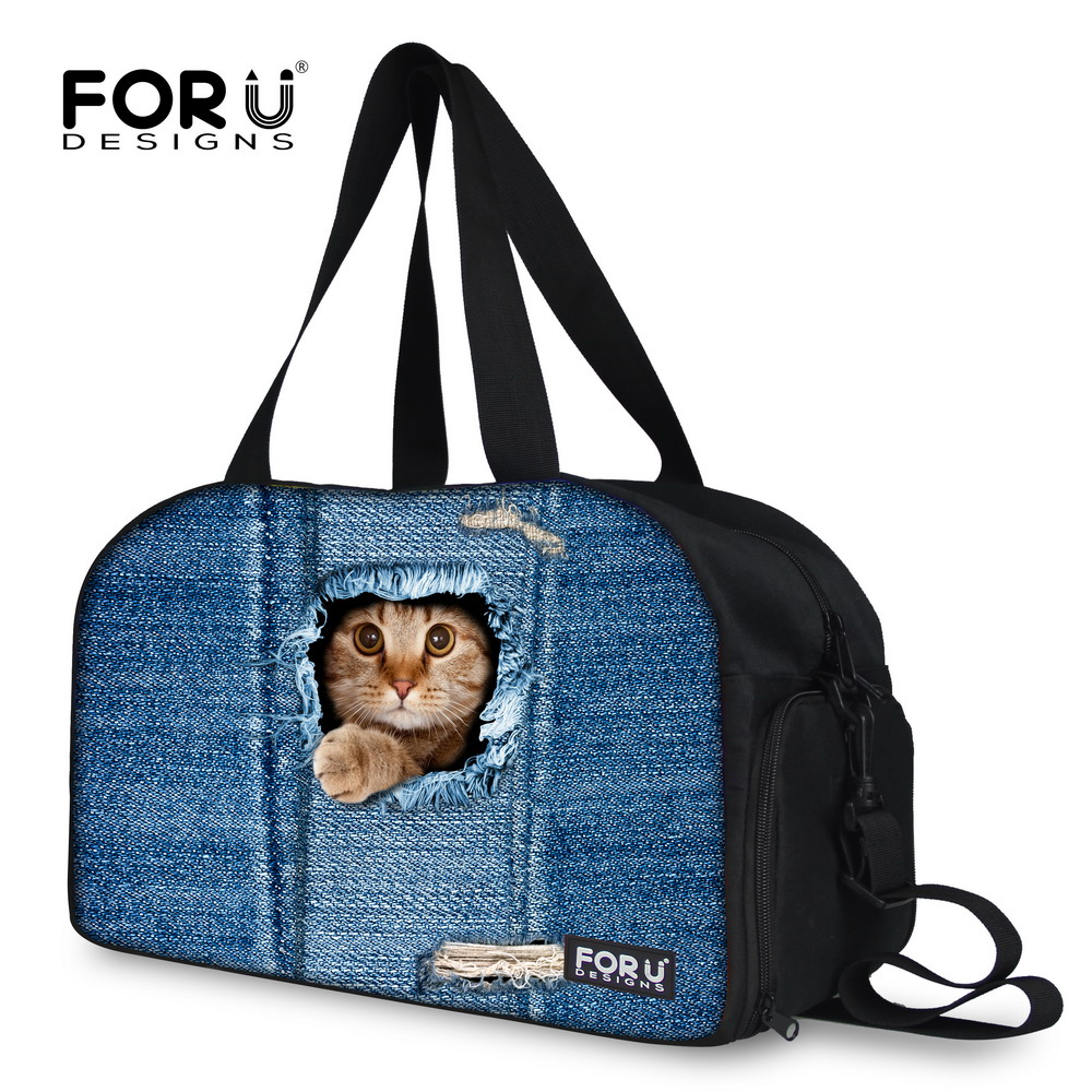 FORUDESIGNS Mulitifunctional Women Duffle Bag Cute Cat Bag Large Capacity Travel Bag+Independent Shoe Bit Fashion Bag for Women