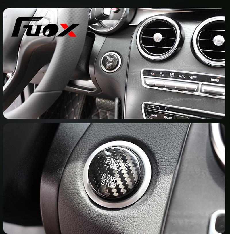 Para Mercedes Benz ML GL Classe A B C GLA GLC CIA W176 W246 W205 X253 X156 C117 Engine Start botão de Fibra de Carbono Tampa Do Carro Styling