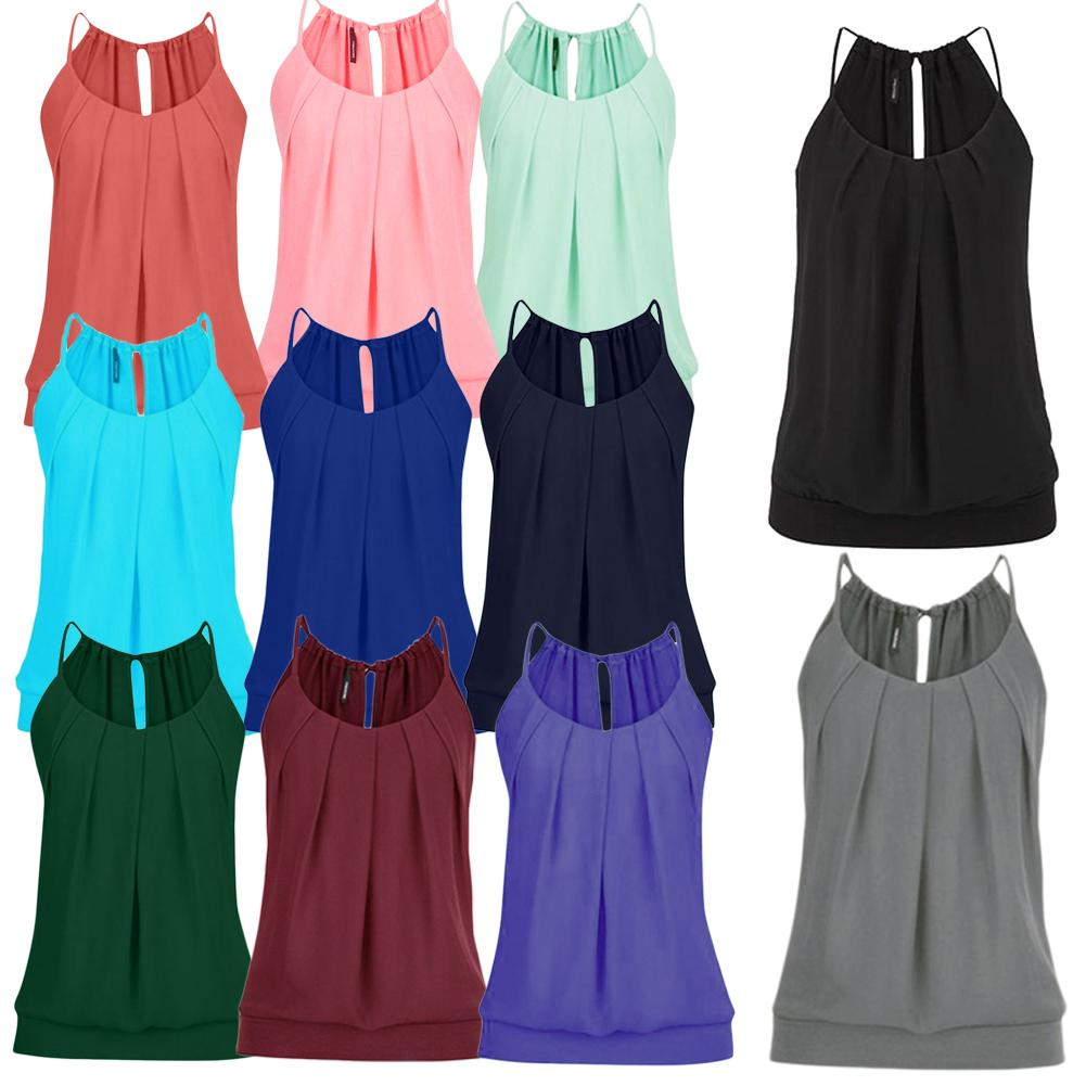 Women's Neckline Bohemian Comfortable Casual Tide Hot Sale Pleated Lace-up Chiffon Camisole Solid T-Shirt   Tank     Tops   Bow