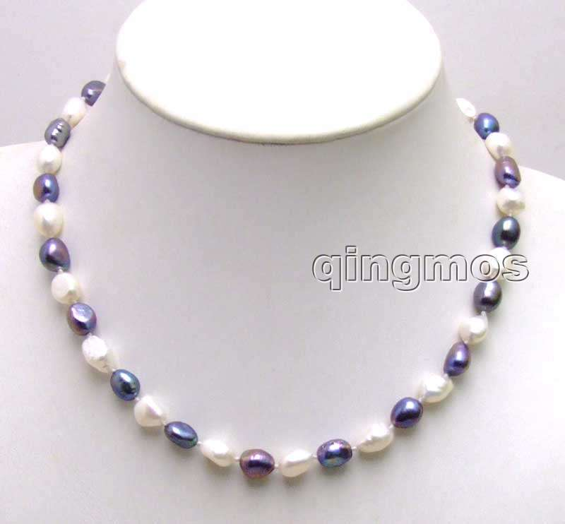 SALE ! Big 7-9mm white and black BAROQUE natural Freshwater PEARL 17 Necklace -5852 Wholesale/retail Free shipping