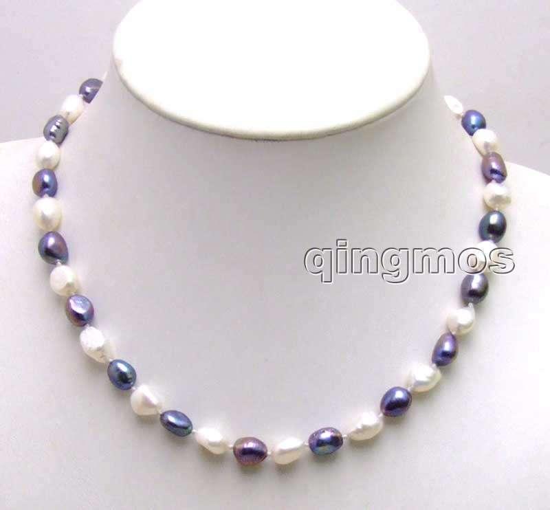 Venta! Grande 7-9mm blanco y negro perla de agua dulce natural barroca 17 collar-5852 al por mayor/al por menor envío libre