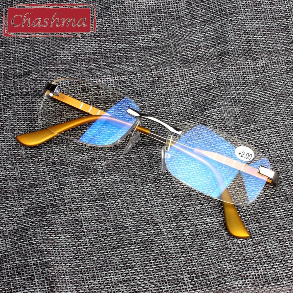 Чашма модный бренд Для мужчин выполненные Очки для чтения без оправы Для женщин узнать очки с пружинным шарниром