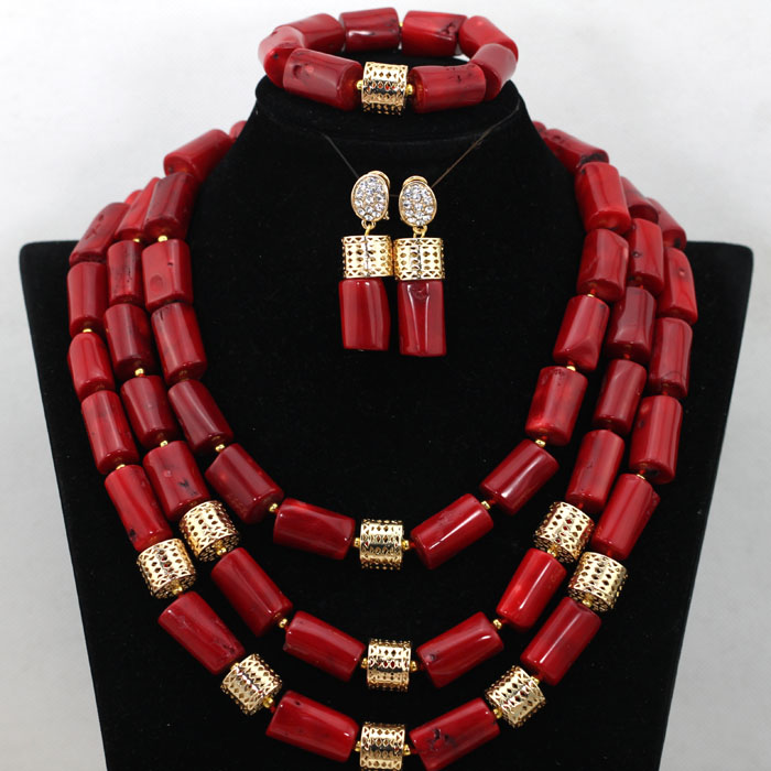 Red Nigerian Wedding African Beads Coral Necklace Earrings Bracelet Statement Jewelry Set New Free Shipping CNR465