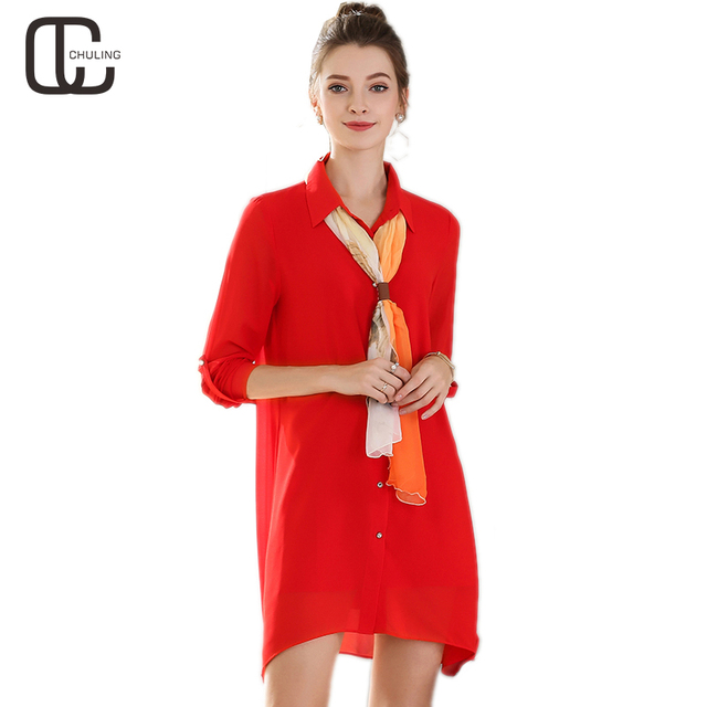 2018 Spring Women Chiffon Red Black Casual Dresses Plus Size Elegant