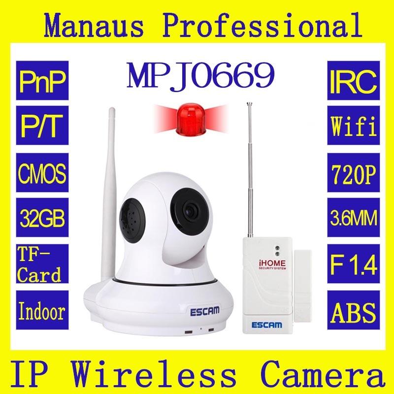 ФОТО 1MP HD P2P Wirless Wifi Home Security CCTV Camera with Door sensor ESCAM Patron QF500 Box camera support 32GB TF Card 720P J0669