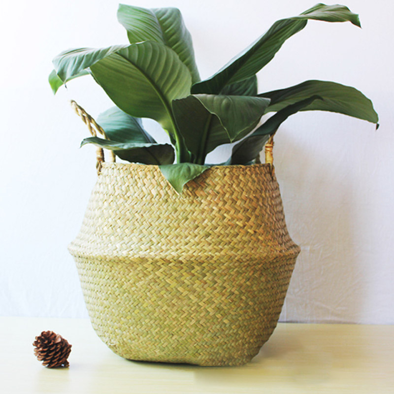 Household Foldable Natural Seagrass Woven Storage Pot Garden Flower Vase Hanging Basket With Handle Storage Bellied Straw Basket