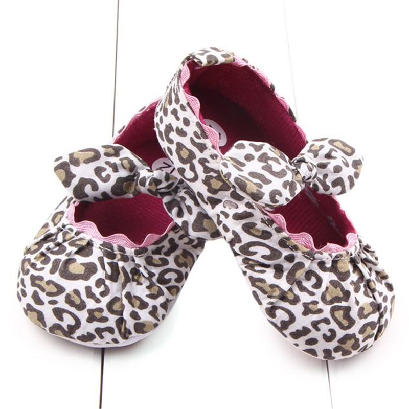 2018 Toddler Kids Baby Girls Leopard Elastic band Bowknot Newborn Shoes 1204