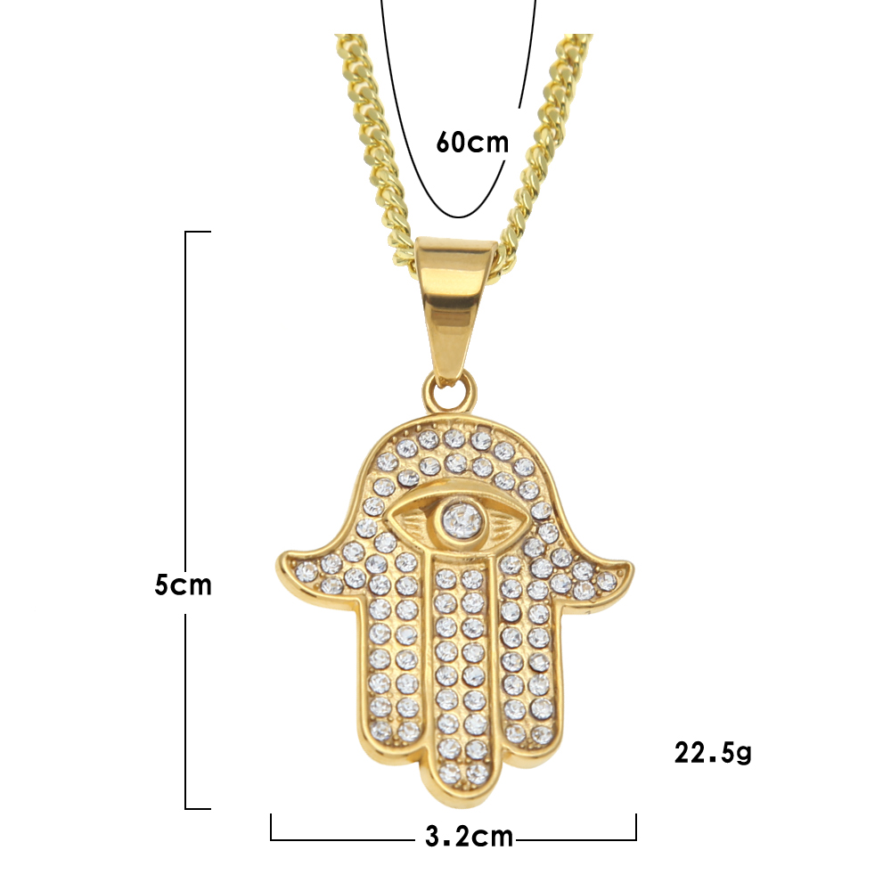 Stainless steel gold color hamsa hand pendant iced out rhinestone 8586 img8590 img8586 img8588 aloadofball Images