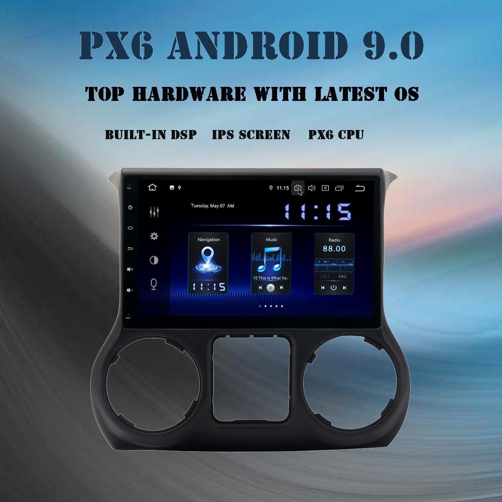 """10.2 """"multimédia de voiture d'ips Android 9.0 pour Jeep Wrangler 2011-2016 autoradio stéréo intégré GPS WIFI 4Gb + 64Gb DSP sortie HDMI"""