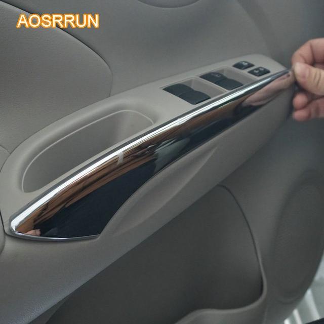 AOSRRUN Para Nissan Versa Sedan Hatchback Nota SR 2014 2015 ABS Chrome  Guarnição Interior Adesivos Acessórios